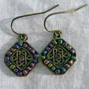 Premier Designs Rainbow Bead Brass Tone Earrings